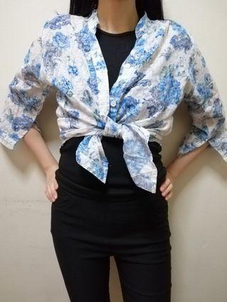 Floral long sleeved top (blue / pink)