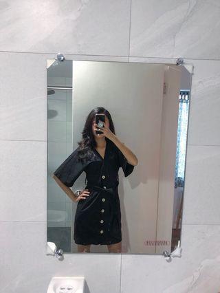 黑色棉麻綁帶排扣洋裝 s號 zara同款