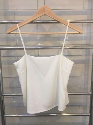 Bardot White Straight Neck Singlet Top Size 10