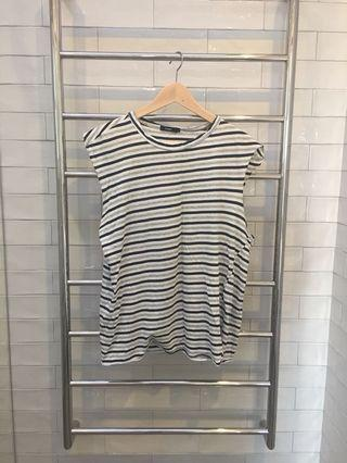 Bassike Grey and Navy Striped Cami Size XS
