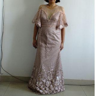 Dress / Gaun Pesta Mama, Nikahan Rosegold Pink