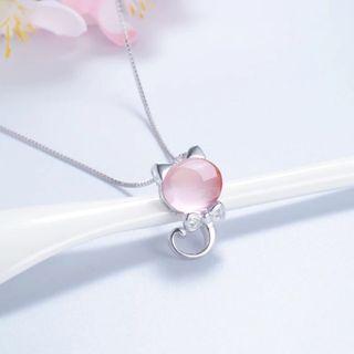 🚚 S925 Silver Kitty Cat Swarovski Elements Crystal Necklace