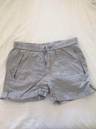 Saks Fifth Avenue Grey Linen Shorts Size Small