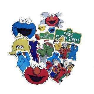 (Stickers) 10pc KAWS OriginalFake Sesame Street