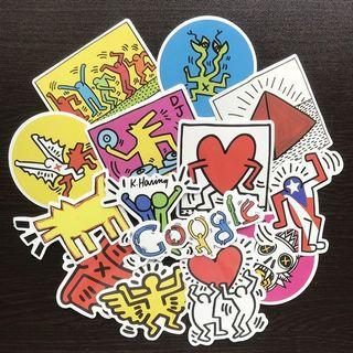(Stickers) 14pc Keith Haring Graffiti Style Assorted