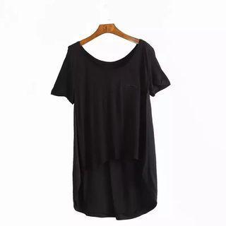 黑色棉T設計師款(下擺前短後長)