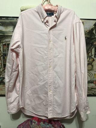 🚚 Polo Ralph lauren棉粉條紋襯衫,classic fit L,肩53、長82、袖68公分