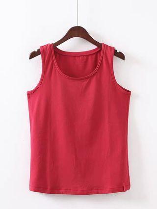 紅色棉質韓版背心