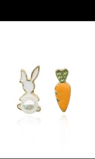 Bunny Rabbit Carrot Stud Earrings