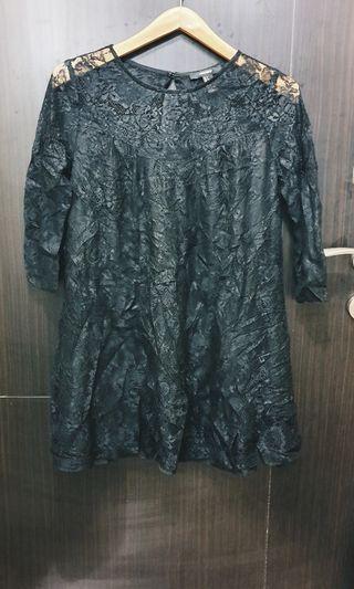 Forever 21 black brokat dress
