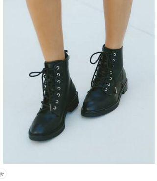 Therapy lace up combat boots