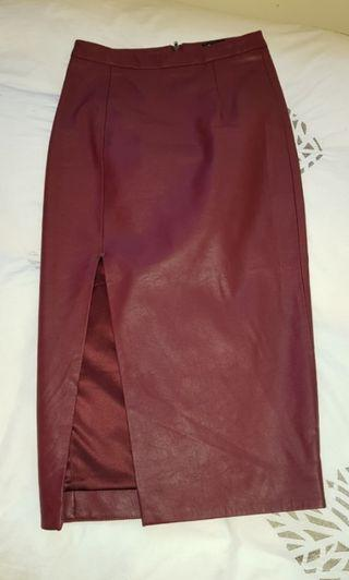 Burgundy Bardot Leather Midi Skirt with split Size AU6