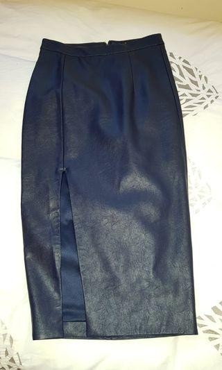 Midnight Blue Bardot Leather Midi Skirt with split