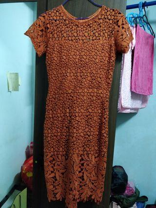 Red Lace Dress / lace body dress in brick color