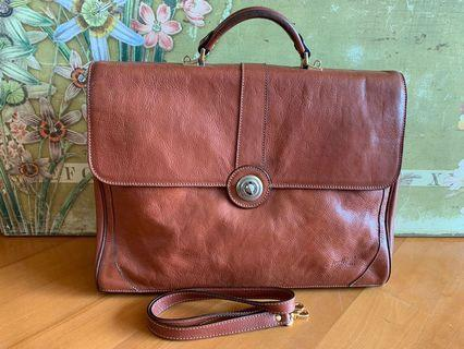 Made in France vintage style leather briefcase 公事包