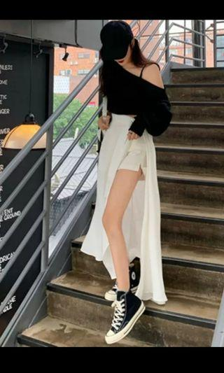PO 1103 White Inner Short Pants Shorts Pant & Adjustable Waist with Belt Side Slit Long Skirt 1 Piece Set Ulzzang