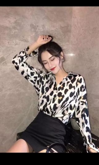 PO 1105 Big Dotted Leopard Print Pattern Dot Long Sleeve Collar Button Shirt Top Ulzzang