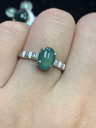 Grade A Jadeite Ring 925 Silver with cert