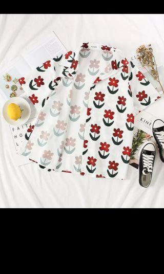 PO 1156 Red Stalk Of Flower Floral Pattern Print with Leaf Short Sleeve Button Collar Shirt Top Ulzzang Cute