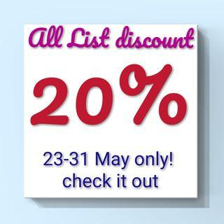 ALL LIST DISCOUNT 20%