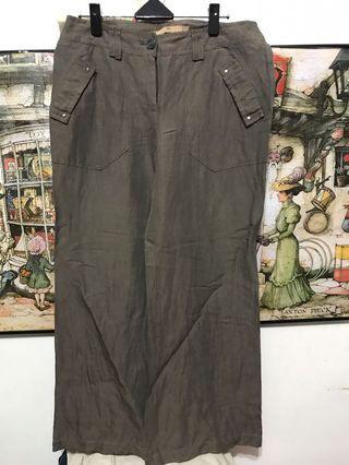🚚 LINDARICO亞麻長褲  寬管褲 ,腰32吋長92、管27.5公分