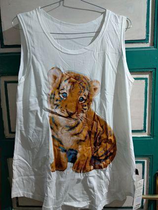 #HBDSale Kaos tanpa Lengan Baby Tiger Putih