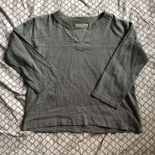 Grey striped v neck top
