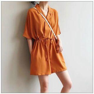 Collared Cinched Waist Romper