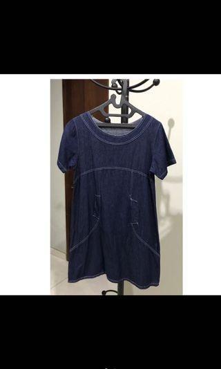 Preloved dress bahan semi jeans