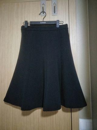 Black flare skirt knee length