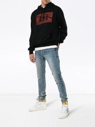 Authentic 424 black logo print cotton hoodie