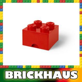 樂高 LEGO 4003L/4005 紅色 Red 方形儲物箱連拉柜 Storage Brick Drawer 4