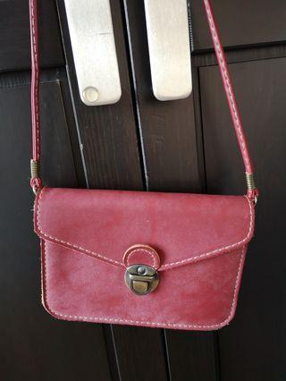 (可斜孭)紅色復古仿皮小錢包