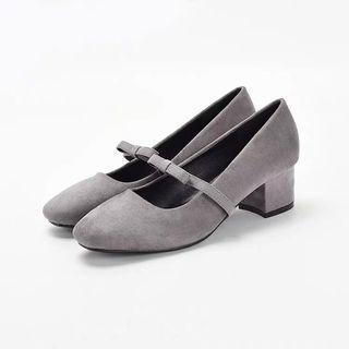灰色瑪麗珍蝴蝶結鞋