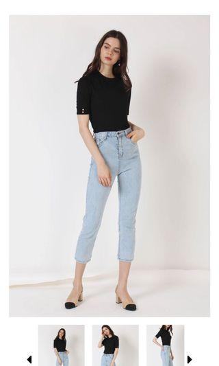 The Willow Label Max High Rise Jeans Light Wash L