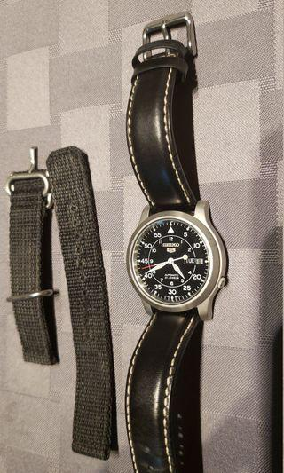 Seiko 5s with leather and nato straps