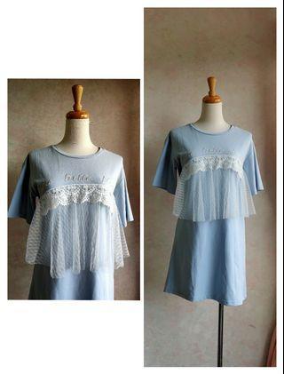 🚚 Jiajia 水藍色蕾絲紗造型長版T恤大學T