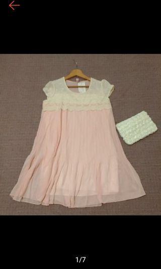 全新 hiyun fashion 立體緹花 蕾絲拼接 甜美粉紅 雪紡洋裝 連身裙 連衣裙