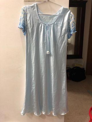 Vintage Blue Lace Satin Nightgown