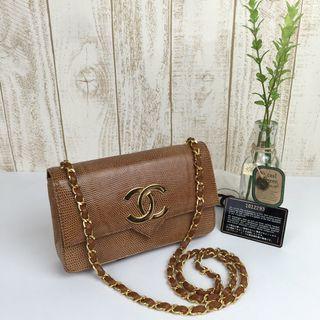 🌈☀️Super Gorgeous Chanel Lizard Skin Big CC Flap