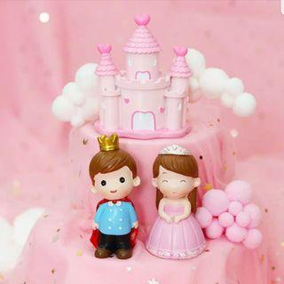 Prince and Princess couple/Castle/wedding/birthday cake topper/ car decoration
