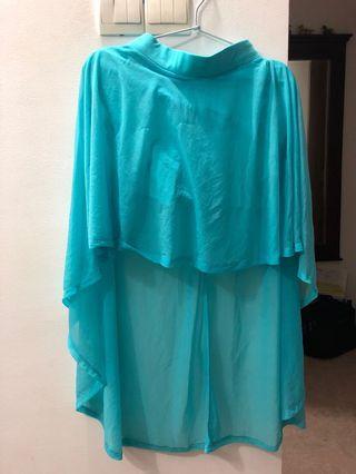 Turquoise Mint Green Waterfall Chiffon Skirt