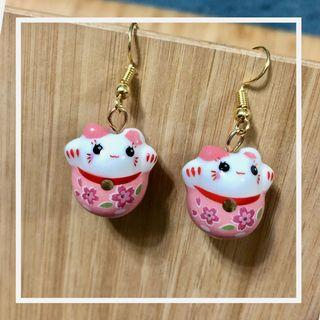 Pretty Pink Fortune Cats Ear Rings 财神猫 (Free Local NORMAL Mail)