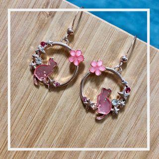 Earrings-Pink Cats (Free Local Normal Mail)