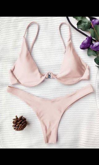 Zaful Pink Peach Half Cup Plunge Bikini