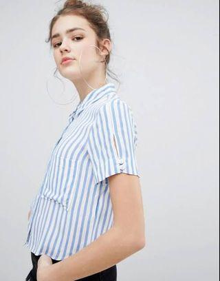 Stripes BERSHKA crop shirt