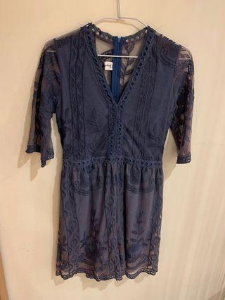 🚚 藍色蕾絲套裝
