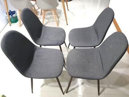🚚 Dark grey fabric dining chairs (set of 4)