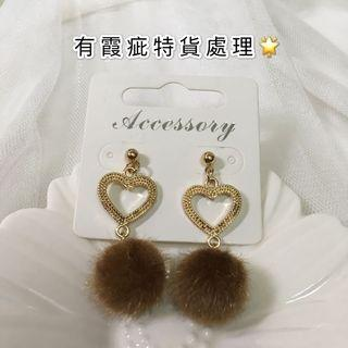 Earrings Gold 長耳環 毛毛 金色