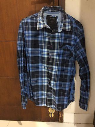 Guess blue checker shirt size xs